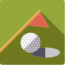 lawn, ball, golf, sports, flag, green, hole