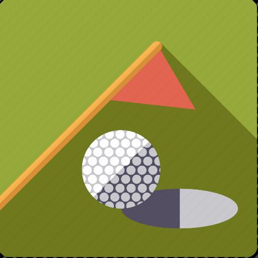 ball, flag, golf, green, hole, lawn, sports icon