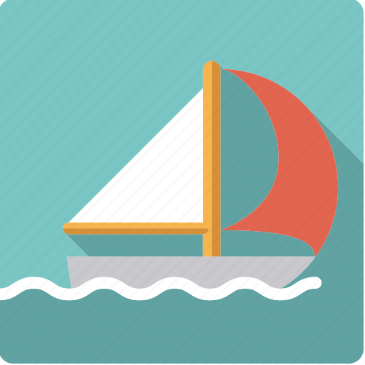 boat, sail, sailing, spinnaker, sports, water sports, wave icon