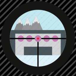 mountain, sports, target icon