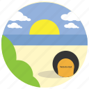 beach, bush, clouds, sea, sports, sun icon