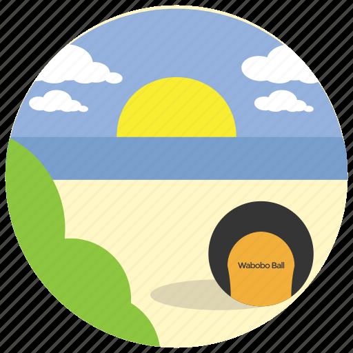 beach, bush, clouds, sea, sports, sun icon