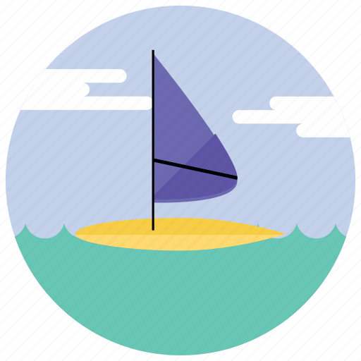 clouds, ocean, sea, sports, windsurfing icon