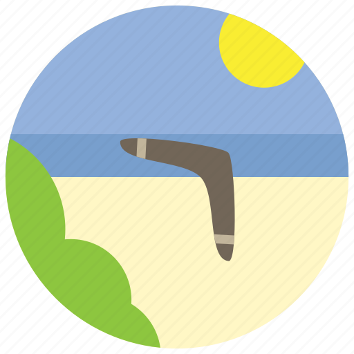 beach, boomerang, bush, sea, sports, sun icon