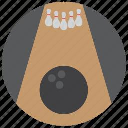 ball, bowling, lane, pins, sports icon