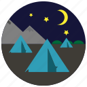 mountains, camping, tents, sports, stars, night, moon