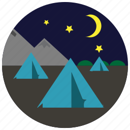 camping, moon, mountains, night, sports, stars, tents icon