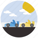 car, cars, clouds, race, sports, sun icon