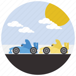 car, cars, clouds, race, sports, sun icon