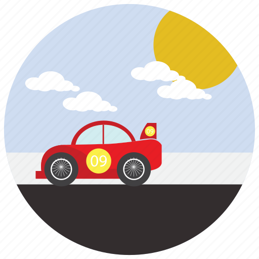 car, clouds, race, ride, sports, sun icon