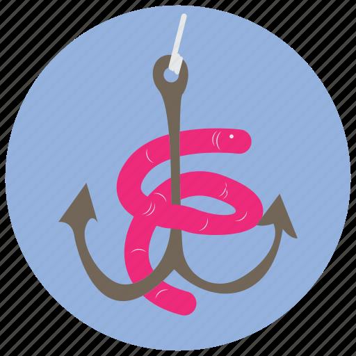 bait, fishing, hook, sports, worm icon
