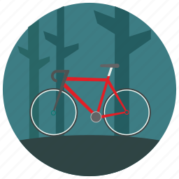 bike, forest, outdoors, ride, sports, trees icon