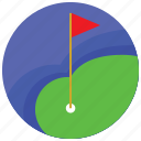 lake, flag, golf, hole, sports