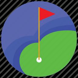 flag, golf, hole, lake, sports icon