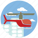 buildings, clouds, helicopter, ride, sports icon