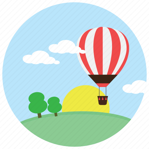 air, balloon, clouds, hot, ride, sports, tree icon