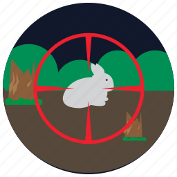 bush, forest, hunting, rabbit, sports icon