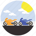 sun, race, clouds, motorcycle, sports