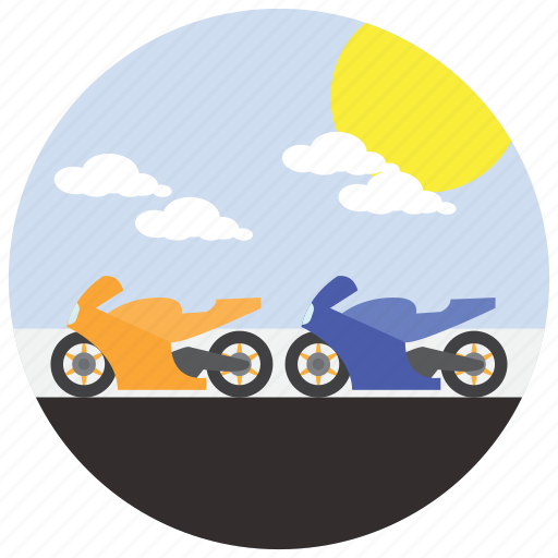 clouds, motorcycle, race, sports, sun icon