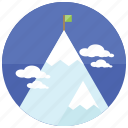 climb, clouds, flag, mountain, snowcap, sports icon