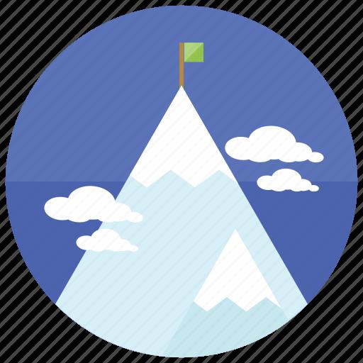 climb, clouds, flag, mountain, snowcap, sports icon