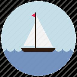 boat, ocean, sailing, sea, sports, waves icon