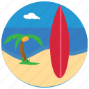 surfing, surfboard, sports, palmtree, sea, beach