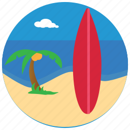 beach, palmtree, sea, sports, surfboard, surfing icon