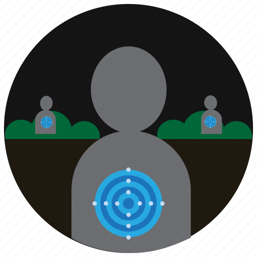 bullseye, bushes, shooting, sports, target icon