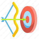 archery, arrow, direction, down, location, right icon