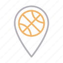 ball, location, map, pin, sport icon
