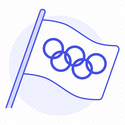 flag, games, interlocking, olympic, rings, sports, symbol, white icon