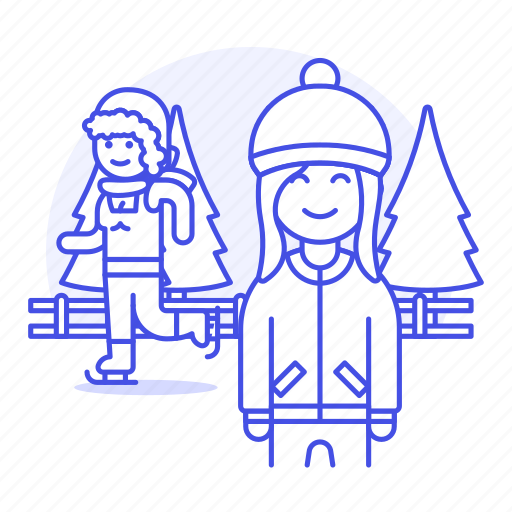 beanie, female, friends, half, hat, ice, knit, skate, skating, sports, trapper, tree, winter icon