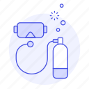 2, diving, equipment, mask, scuba, sports, tank, water icon
