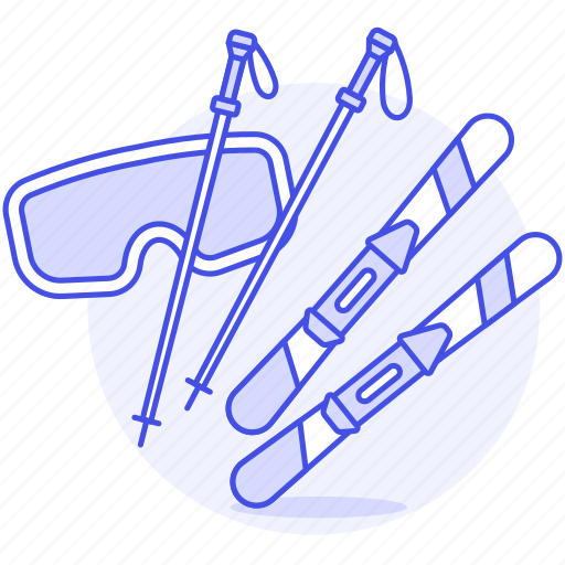 equipment, gear, googles, poles, ski, skis, sport, sports, winter icon
