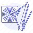 aim, archery, arrow, bow, equipment, shooting, sports, target icon