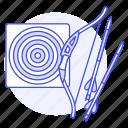 aim, archery, arrow, bow, equipment, shooting, sports, target icon