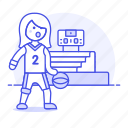 basketball, bleachers, coliseum, female, match, player, scoreboard, sports, stadium icon