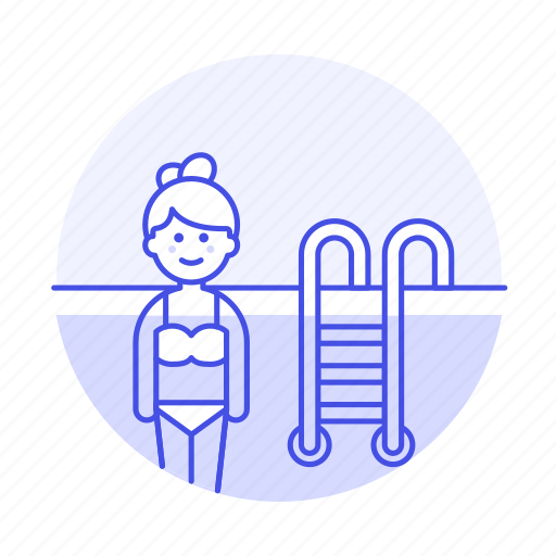 female, ladder, pool, sports, swimmer, swimming, swimwear, water icon
