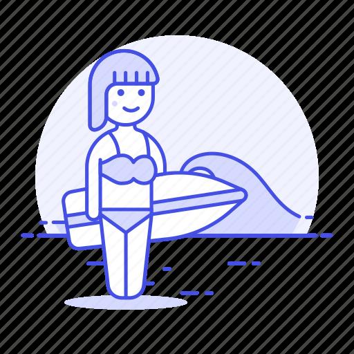 beach, female, ocean, sea, shore, sports, surfboard, surfer, surfing, swimwear, water, wave icon