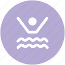 exercising, gymnasium, swimmer, swimming, swimming pool, swimming winner icon