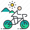 bicycle, cycling, sports, terrain icon