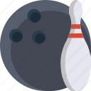 bowling, bowling ball, color, pin, tenpin icon