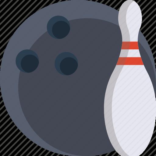 bowling, bowling ball, color, pin, tenpin icon