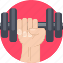 barbell, gym, hand, lift, mintie, weight icon
