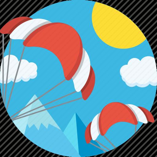 color, mintie, parachutes, sky icon