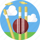 ball, cricket, fitness, sports, stumps icon