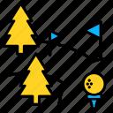 club, course, golf, sport, ball, flag, tree