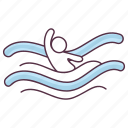 olympic sports, olympics swimming, swimming, water diving, water olympics, water sports icon