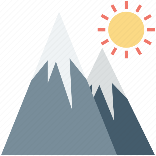 hiking, hills, landscape, mountains, sun icon